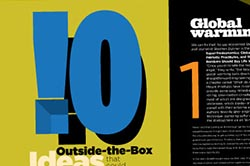 Comp for spread on outdied-of-the-box ideas for Baltimore, Urbanite magazine